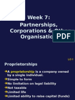 Week7.Partnerships Corporations OtherOrganisations