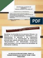 Mi Exposición-regulación Nacional Para La Transferencia de Datos y Clasificación de Los Flujos de Información.