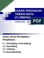 Dasar Pendakian Tebing Batu (Climbing)