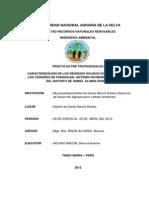 Caracterización de Los Residuos Sólidos Domiciliarios en Los Caseríos de Pumahuasi, Antonio Raymondi y Pendencia Del Distrito de Daniel Alomia Robles