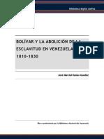 Bolivar y La Abolicion de La Esclavitud