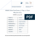 5-7 Schedule Final Exams, May 2015