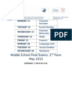 8 Schedule Final Exams, May 2015