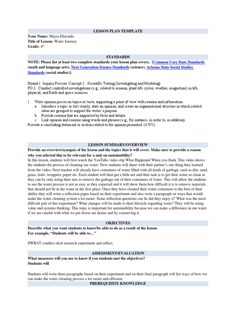 Water Journey Lesson Plan Template1 Lesson Plan Psychology