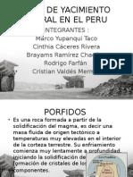 Tipos de Yacimientos en El Peru