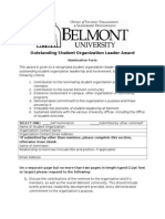 Outstanding Student Org Leader Nomination Form