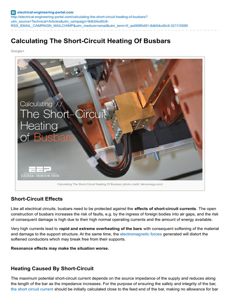 calculating the short circuit heating of busbars heat capacity rh es scribd com