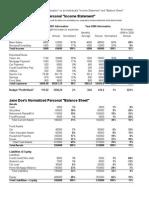 Sample Individual Income Statement & Balance Sheet