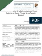 Diseño Conceptual de la Implementación del Control Industrial del Reactor Principal de una Planta de Biodiesel