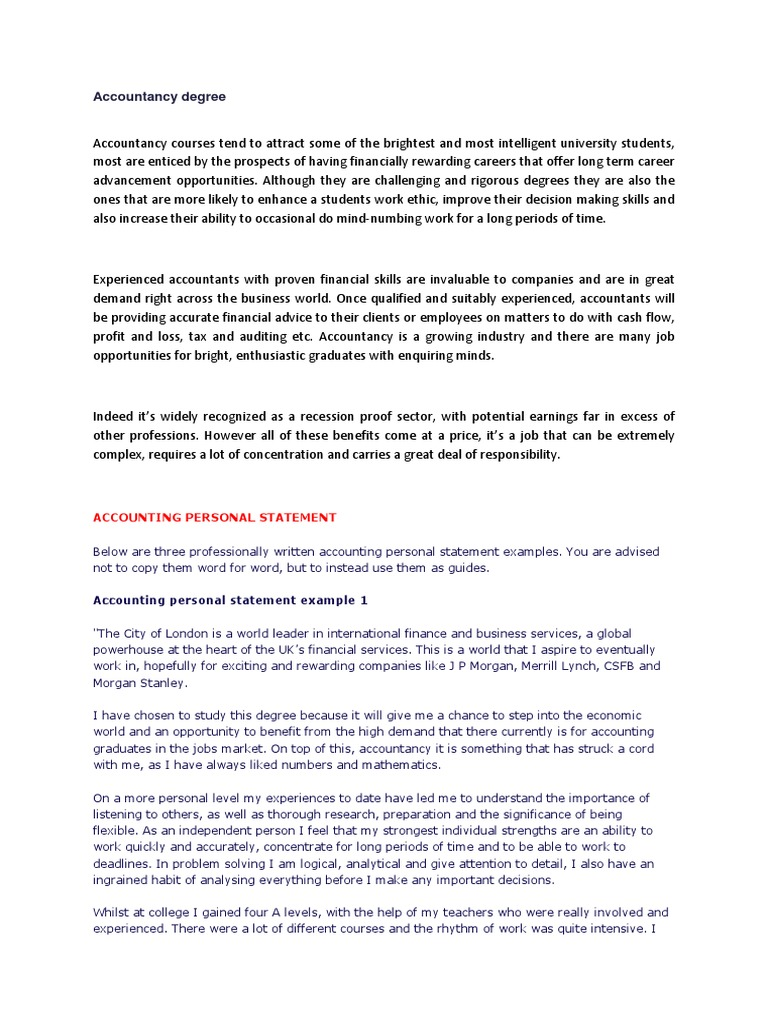 personal statement in accounting Accountancy career promotion, accounting professional information, accountant personal statement of purpose sample for graduate school,.