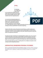 Aeronautical Engineering Personal Statement