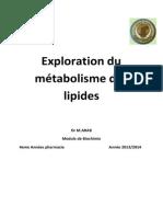 3-Exploration Du Métabolisme Des Lipides 2013