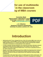 A Model for Use of Multimedia ICT in the Classroom