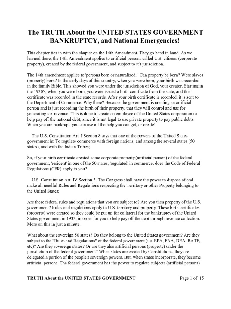 The Truth About The United States Government Bankruptcy Federal