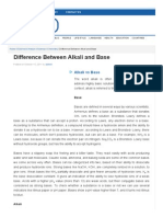 Difference Between Alkali and Base