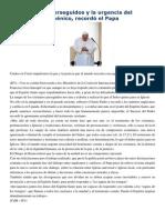 Francisco- Palabras a La Comisión Internacional Anglicana 30-4-15 Los Cristianos Perseguidos y La Urgencia Del Testimonio Ecuménico