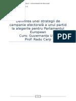 Definirea Unei Strategii de Campanie Electorala a Unui Partid La Alegerile Pentru Parlamentul European