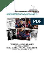 Observatorio 13-Seguridad y Violencia en Centroamérica