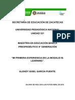 """""""MI PRIMERA EXPERIENCIA EN LA MODALID B-LEARNING""""."""