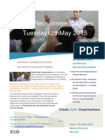 Safer Recruitment Courses Create Safer Organisations 12 May 2015