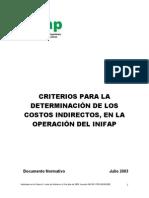 Criterios Determinacion Cotos Indirectos Operacion Inifap