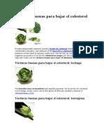 Verduras Buenas Para Bajar El Colesterol