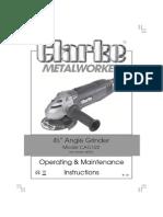 Clarke Angle Grinder - Manual Books
