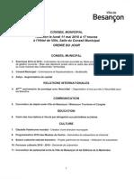 Ordre Du Jour Conseil Municipal Besancon11 Mai 2015