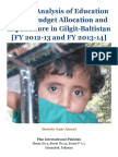 Gender Analysis of Education Sector Budget Allocation and Expenditure in Gilgit-Baltistan [FY 2012-13 and FY 2013-14]