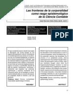 Las fronteras de la corporalidad como rasgo epistemológico de la Ciencia Contable autores:Casal, Rosa Aura; Viloria, Norka y Zaá M., José R.