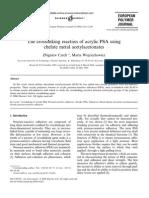 The Crosslinking Reaction of Acrylic PSA Using Chelate Metal Acetylacetonates