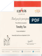 tim kids4kids participating cert sept 2014