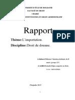Rapport Importation