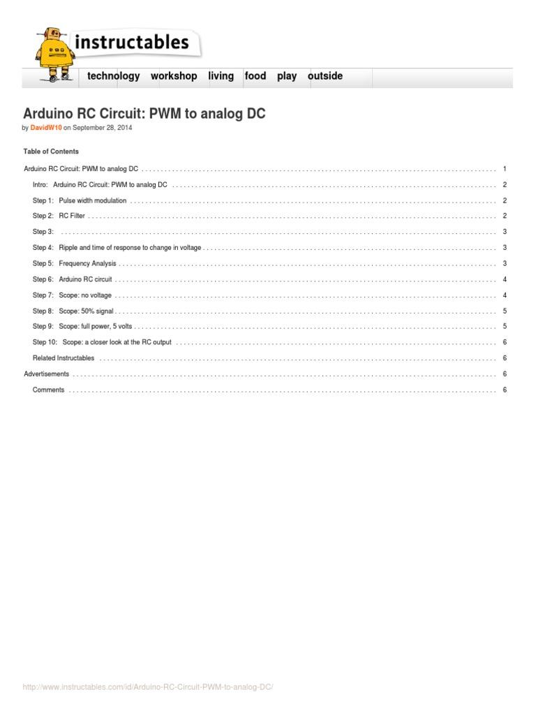 Arduino Rc Circuit Pwm To Analog Dc Electronic Filter Capacitor Diy Design Pulse Width Modulation