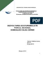 185716468 Dezvoltarea Ecoturismului in Parcul Național Domogled Valea Cernei