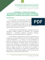 Pueblo, Republica y Soberania Algunas Apreciaciones a Partir de La Lectura de Nicolas Maquiavelo, Girolamo Savonarola y Jean Bodin
