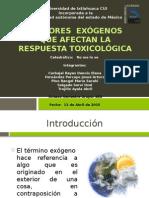 Factores Exógenos Que Afectan La Respuesta Toxicológica