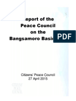 Report of the Peace Council on the Bangsamoro Basic Law - May 5, 2015