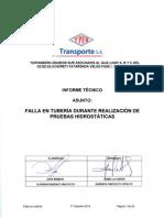 InformeTécnico-Falla en Tuberia-Pruebas Hidrostáticas