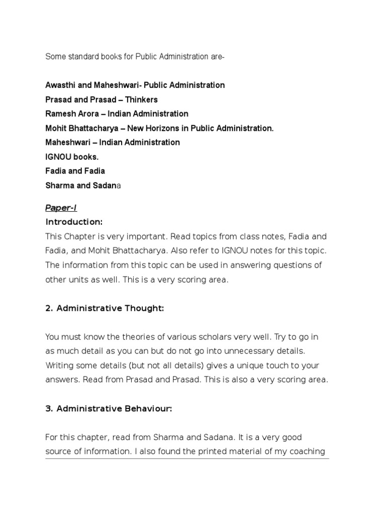 Ignou Notes On Public Administration Pdf