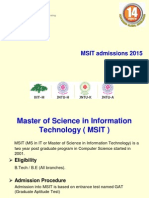 MSIT Admission Process