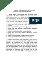 The brief biography of Hadrat Syed Shah Peer Shah Mohiuddin Thani Quadri Hyderabad