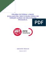 Informe Del Gabinete Técnico de FETE-UGT Sobre La Prueba Externa de Tercero de Primaria