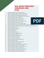 Daftar Judul Buku Pedoman Pengorganisasian Dan Pelayanan Rs