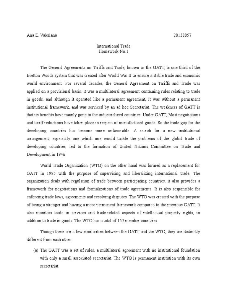 Gatt World Trade Organization General Agreement On Tariffs And Trade