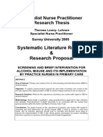 Research Thesis Literature Review and Research Proposal by Theresa Lowry-Lehnen Specialist Nurse Practitioner Surrey University 2005