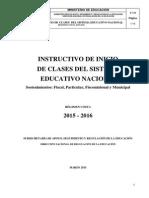 Instructivo de Inicio de Clases Del Sistema Educativo Nacional 2015- 2016