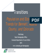 Population & Economic Trends for Bennett, Adams County, & Colorado