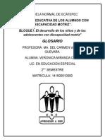 GLOSARIO BLOQUE 1 (Atención Educativa de Alumnos con Discapacidad Motriz) 1ERPARCIAL, 2DO SEMESTRE