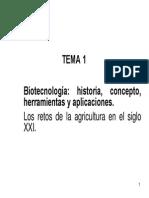 TEMA 1-Biotecnologia Concepto Historia Herramientas y Aplicaciones